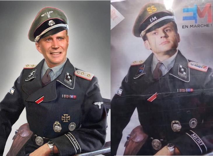 Affiche Emmanuel Macron SS et image originale