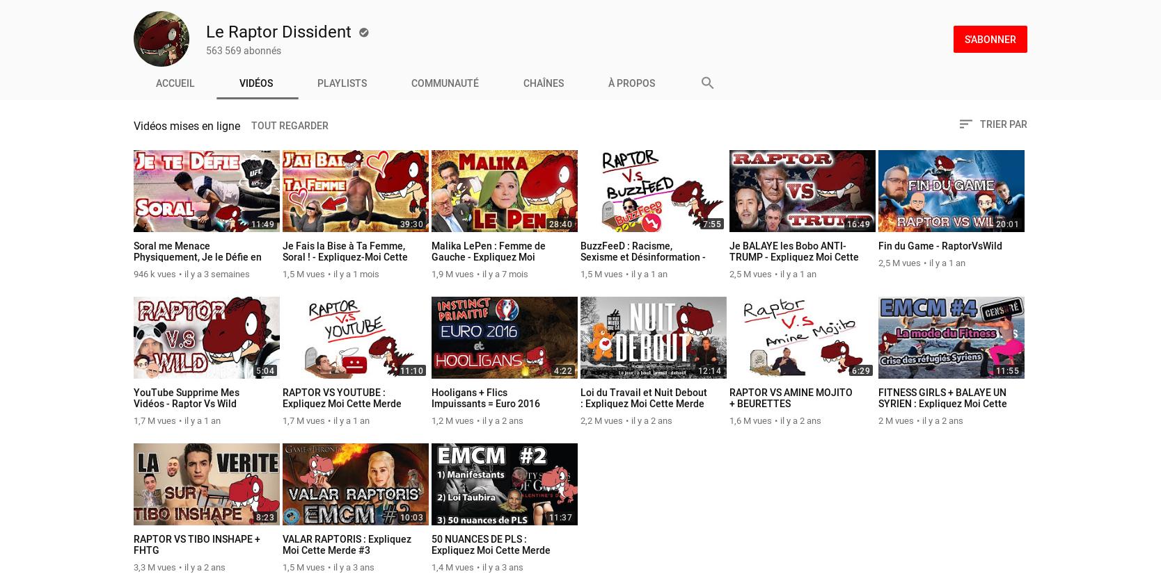 Raptor dissident Youtube