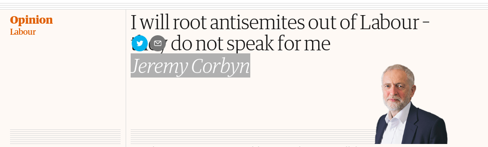I will root antisemites out of Labour – they do not speak for me (Jeremy Corbyn)