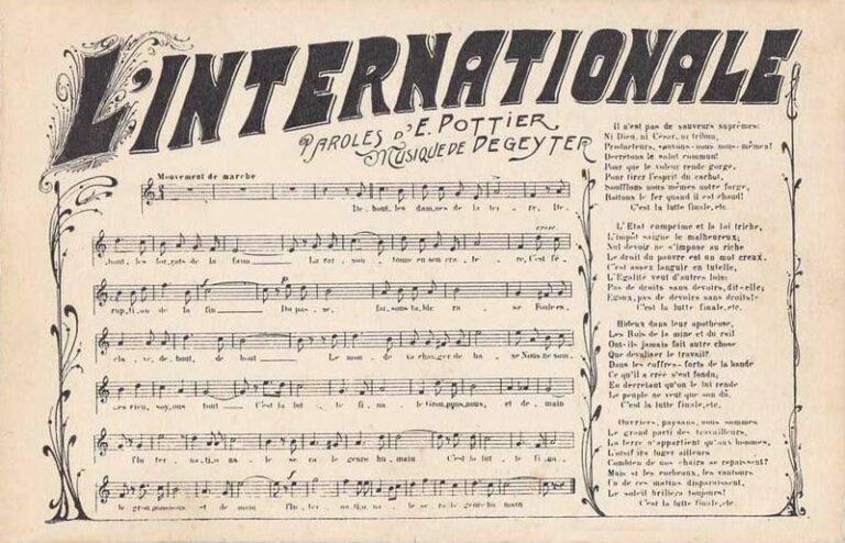 Read more about the article La grande chanson ouvrière «L'Internationale»