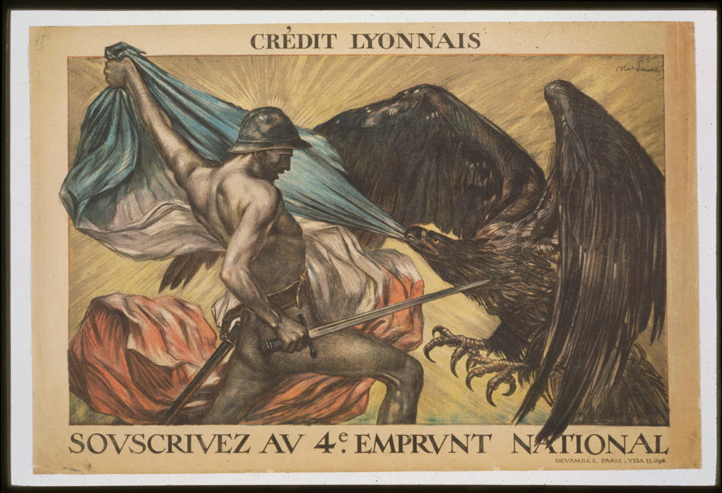 Publicité du Crédit Lyonnais pour un emprunt national pendant la 1ere guerre mondiale.