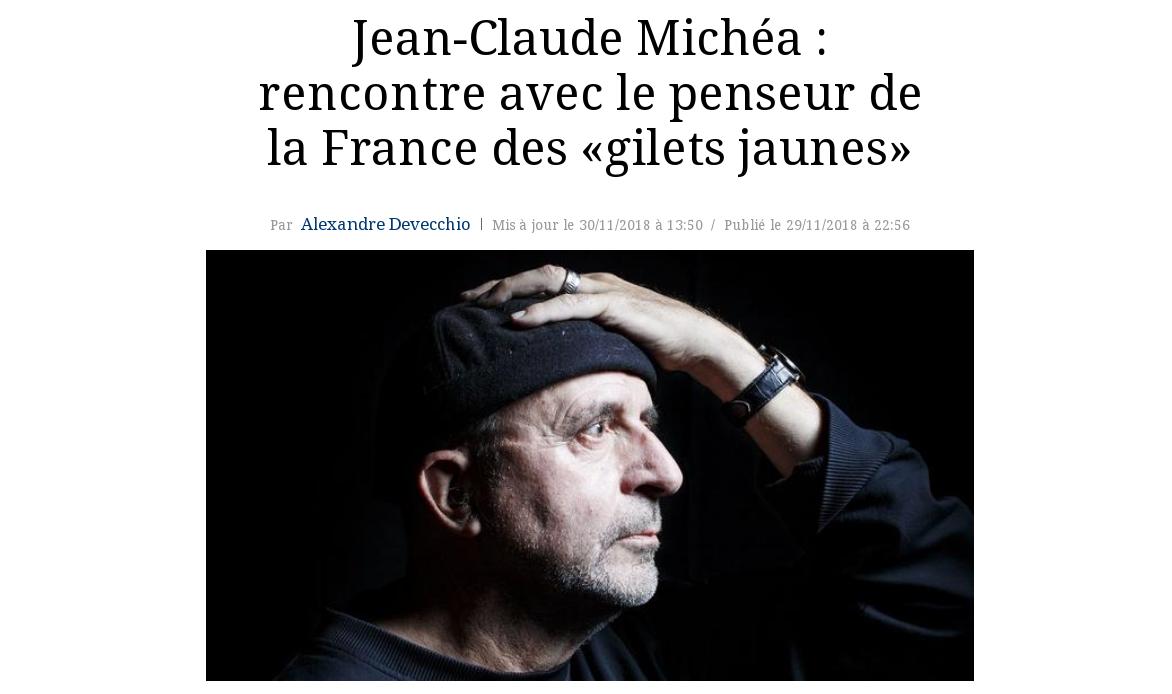 Read more about the article Jean-Claude Michéa n'aime que ce qui lui est familier