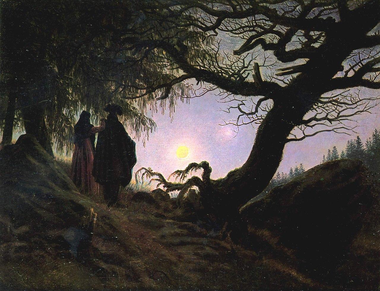Homme et femme contemplant la lune, 1818-1824, Caspar David Friedrich