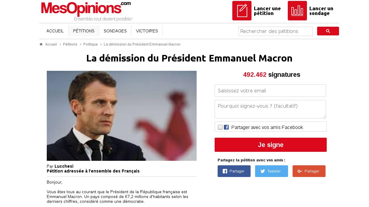 Pétition : démission du président Macron