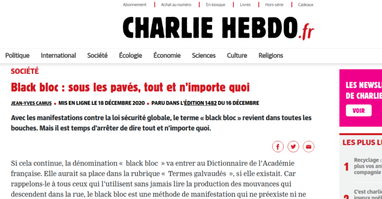 Read more about the article Charlie Hebdo criminalise l'Union communiste libertaire