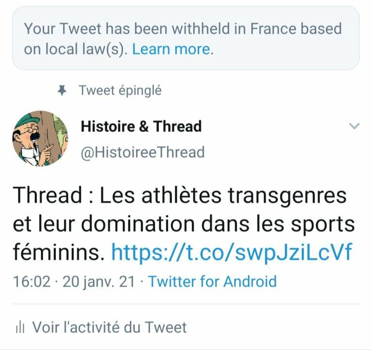 Read more about the article Twitter censure une discussion sur la domination des athlètes «trans» dans le sport féminin
