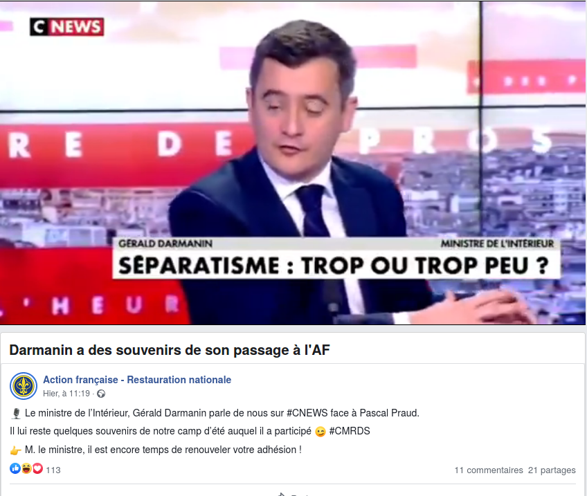 Read more about the article Le ministre de l'Intérieur Gérald Darmanin et l'Action française
