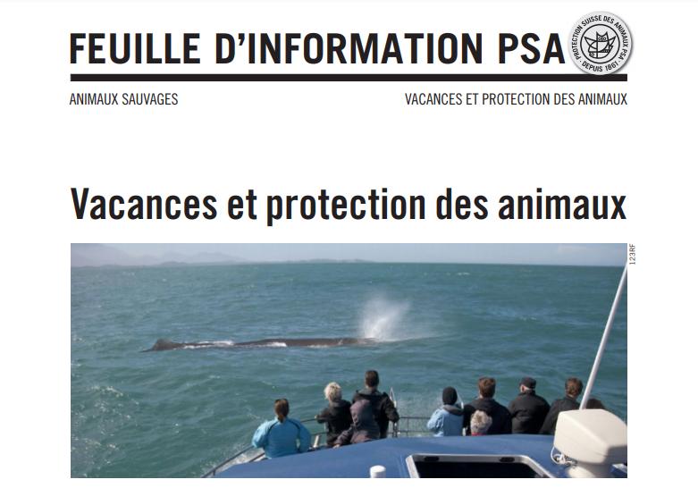 Protection des animaux sur les lieux de ses vacances: un excellent document