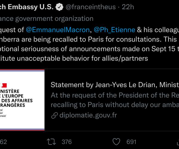 Le rappel des ambassadeurs français d'Australie et des États-Unis