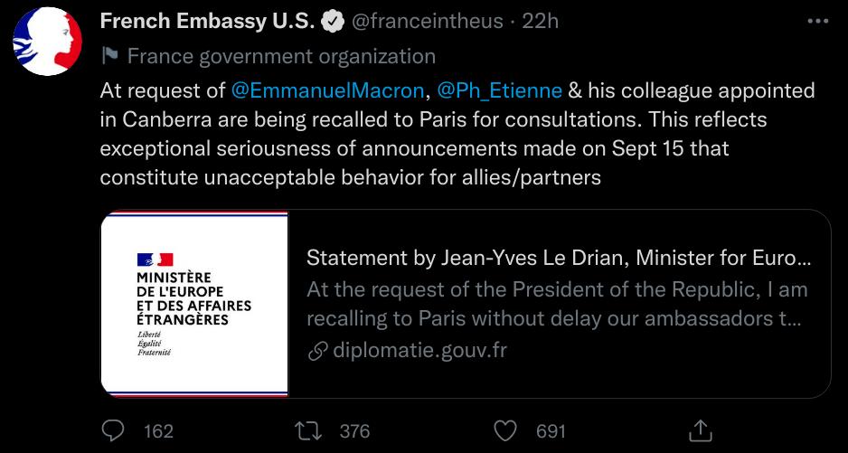 Read more about the article Le rappel des ambassadeurs français d'Australie et des États-Unis
