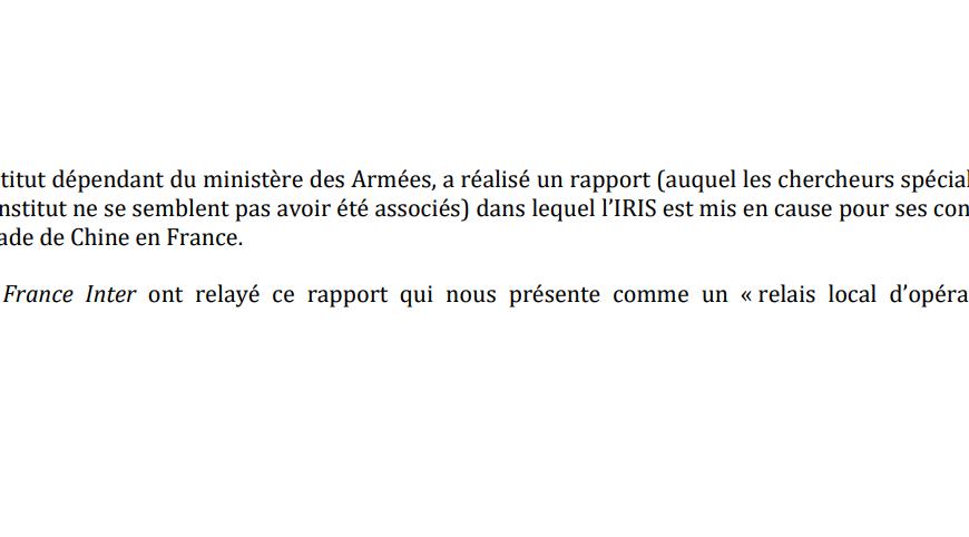 Le rapport français à la Chine : la violente polémique IRSEM/IRIS