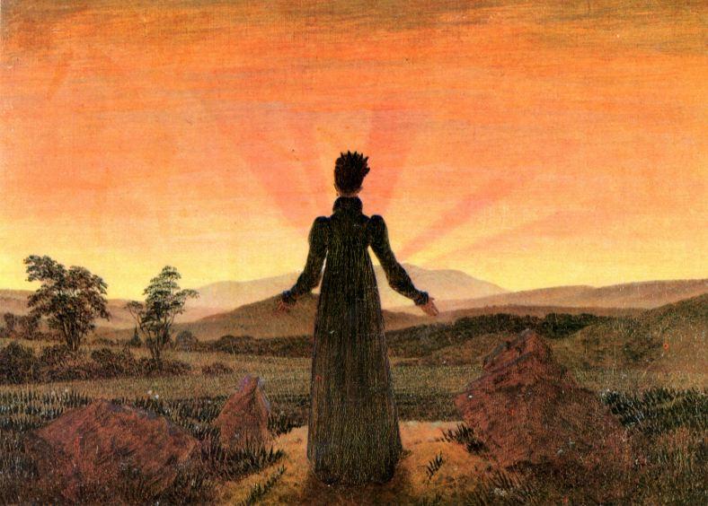 caspar david friedrich - woman before going down sun