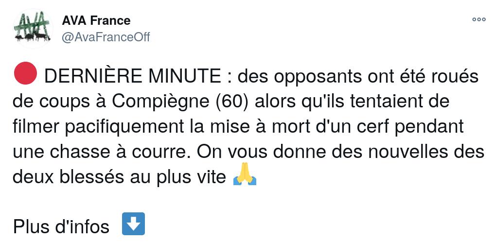 tweet AVA Compiègne relatif à l'agression du 2 janvier 2021
