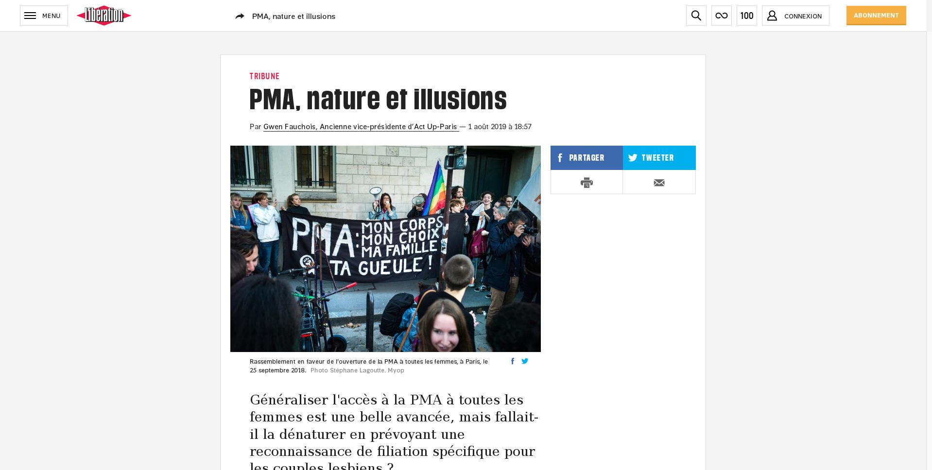« PMA, nature et illusions » Libération